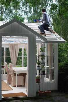 Thats my future husband building one only a greenhouse for all my roses in the winter time! BUILD A Outdoor Storage Sheds, Outdoor Sheds, Outdoor Rooms, Outdoor Living, Shed Building Plans, Shed Plans, What Is A Conservatory, Home Photo Studio, Shed Blueprints