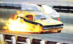 Flames on board funny car