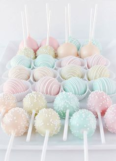10 Pretty Pastel Desserts for a Spring Soiree: #9. Colorful Cake Pops