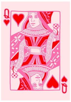 Queen of Hearts Wall Art Print Pink Print Playing Cards Photo Wall Collage, Collage Art, Hearts Playing Cards, Playing Cards Art, Wall Art Prints, Poster Prints, Graphic Prints, Heart Wall Art, Arte Sketchbook