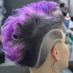 Here, we love hair! If you are a beauty artist send us a message for a free feature! Medium Hair Styles, Natural Hair Styles, Short Hair Styles, Shaved Hair Designs, Edgy Hair, Funky Hairstyles, Mowhawk Hairstyles, Love Hair, Purple Hair