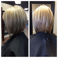 Graduated Long Bob With Extra Light Blonde Highlights
