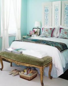 Headboard...A cool way to create a headboard is with folding closet doors and  garnished with decorative paper pasted into middle and secured to the wall. I bet that this is very simple to construct and if you have all the materials around the house , if not try your grandma's attic.{found on jessicaclairesworld}.