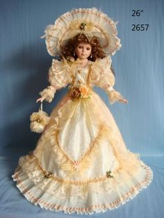 26 inch Umbrella Doll Orange and White Dress Hat and Roses | eBay