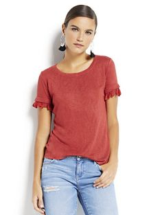Shop Tassel-Trim Scoopneck Tee. Find your perfect size online at the best price at New York & Company.