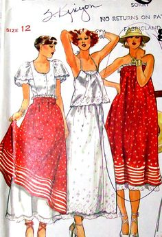 Loved this one! 70s Vintage Sewing Pattern - 1970s Eyelet Skirt Tops Butterick 5387- UNCUT Bust 34. $8.99, via Etsy.