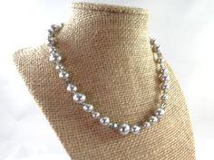 Silver Pearl Crystal Necklace Vintage Silver by RusticWayTreasures