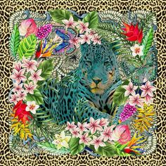 Turquoise Panthera Onca, jaguar art silk scarf♡ Highly detailed luxury art scarf 140x140 cm♡ Illustration by LoveMeOn *LOVEMEON COPYRIGHT 2016* #LuxuryScarf #JaguarScarf #LeopardScarf #AnimalPrint #AnimalArt #Shawl #Wraps #BeachScarf #DressScarf #Sarong #FloralScarf #ButterflyArt