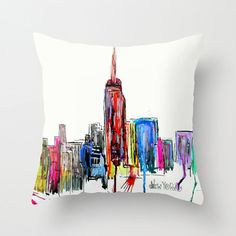 New York inked .colorful New York fine art print or throw pillow cover for home decor ,color your world