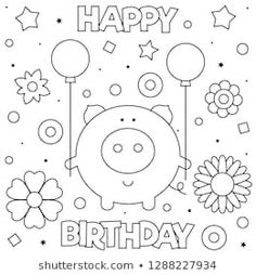 Coloring page pig with vector Merry Christmas Coloring Pages, Snowman Coloring Pages, New Year Coloring Pages, Spring Coloring Pages, Dog Coloring Page, Halloween Coloring Pages, Mandala Coloring Pages, Chinese New Year Greeting, New Year Greeting Cards