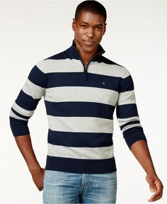 79c6b570f Tommy Hilfiger Rugby-Striped Quarter-Zip Sweater   Reviews - Sweaters - Men  - Macy s. Tommy ShopRugbyZip SweaterMenswearPolo Ralph LaurenTommy ...