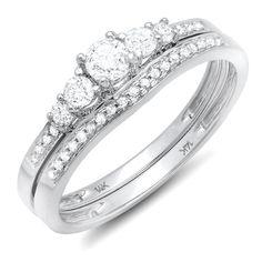 0.45 Carat (ctw) 14k White Gold Round Diamond Ladies 5 Stone Bridal Engagement Ring Matching Band Set