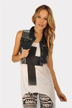 Center Stage Denim Vest  @ Necessary Clothing http://www.studentrate.com/StudentRate/fashion/fashion.aspx