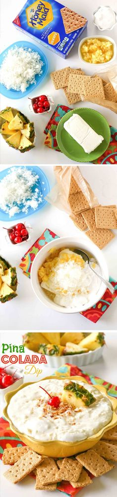 School may be back in session, but you can still have the taste of summer with this Pina Colada Dip. Serve it with HONEY MAID Grahams and sliced fruit for dipping. Yummy Treats, Delicious Desserts, Yummy Food, Snack Recipes, Cooking Recipes, Snacks, Dessert Dips, Pineapple Coconut, Pina Colada