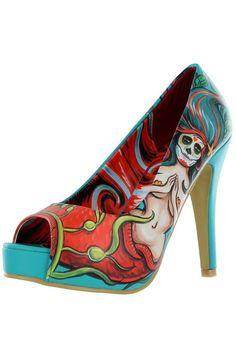 Iron Fist Sailor Sinker Heels Day of the Dead Mermaid Tattoo Pin Up Too Fast  #IronFist #Stilettos