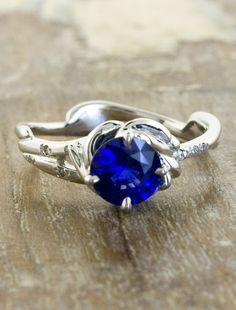 Unique Sapphire engagement ring by ken and dana design