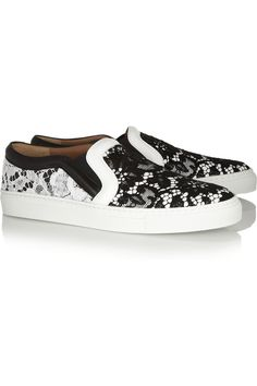A fancy flat Friday #shoeoftheday Givenchy | Lace-covered leather sneakers  | NET-A-PORTER.COM