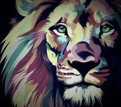 Animal Drawings, Art Drawings, Art Deco Wall Art, Polygon Art, Lion Design, Fire Art, Arte Pop, Dog Paintings, Equine Art