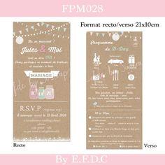EFDC BY SO'SCRAP DESIGNS Carton Invitation, Invitations, Save The Date, Wedding Cards, Marie, Dating, Menu Simple, Catalogue, Scrap