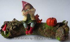 Miniature log with Good luck fairy for mini garden or fantasy dollhouse