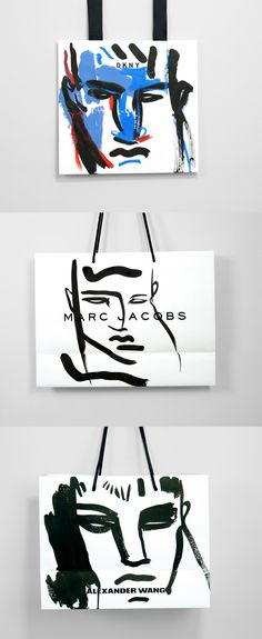 0dc5c2dc282 Could have plain white bags and handprint onto them to relate to resort  collection  Illustrated and re-imagined retail shopping bags by Neil Gilks.