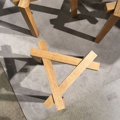 These simple stools are made from three interlocking squared wooden arches by Helsinki Metropolia University of Applied Sciences graduate Tia Aitola and were showcased in the new designer area of Habitare.