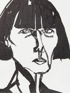 """deusch: """" Rei Kawakubo illustrated by Carlos Aponte for Visionaire Faces """" Comme Des Garcons Play, Rei Kawakubo, Black And White Drawing, Art Sketchbook, Fashion Sketchbook, Fashion Face, Shades Of Black, Art Techniques, Illustrators"""