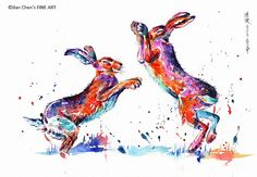 boxing hare by JianChensFINEART on Etsy