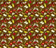 Spellbooks_RedAndGold fabric by elizabeth_baddeley on Spoonflower - custom fabric