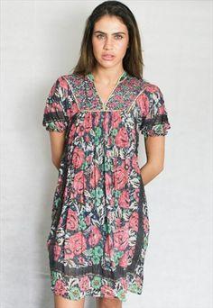 Vintage 1970s sheer indian midi dress