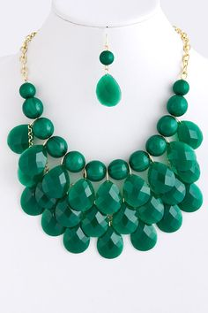 Image of J. Crew Inspired Droplet Necklace and Earring set: Green