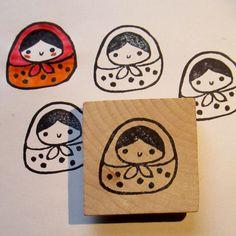Matrioshka hand carved rubber stamp