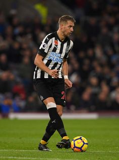 Newcastle defender Florian Lejeune in action  during the Premier League match between Burnley and Newcastle United at Turf Moor on October 30, 2017 in Burnley, England.