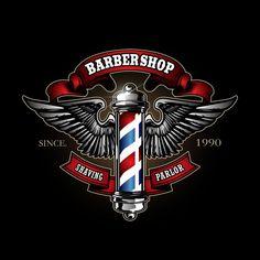 Vintage Barber Shop Logo And Vector Elements Barber Shop Interior, Barber Shop Decor, Barber Logo, Barber Tattoo, Logo Barbier, Barber King, Mobile Barber, Retro Logos, Badge Design