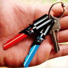 Star Wars Lightsaber Keys -  get them here http://shutupandtakemymoney.com/starwars-keys