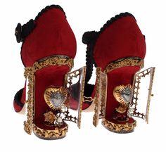 NEW DOLCE & GABBANA Red Jacquard Gold Sacred Heart Heels Pumps Shoes EU37/ US6.5 #DolceGabbana #PumpsClassics #Thecaptivatingclearhingedheelsopentoreveal