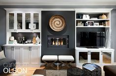 Every room needs a focal point and this room didn't have one.  I remedied that situation with a fireplace flanked by cabinetry.  Because there had not been a fireplace here before, I chose an ethanol model- it's super-easy to install and doesn't need a flue, chimney or gas line. #candiceolson