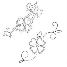 Four Leaf Clover Stencil Shamrock Tattoo Design Art Flash