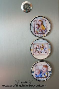 photo magnets from juice lids.  I didn't know there were so many uses for juice lids! juic lid, crafti, diy tutorial, magnets, frozen juic, kid stuff, gift idea, magnet mothersdaycraft, photo magnet