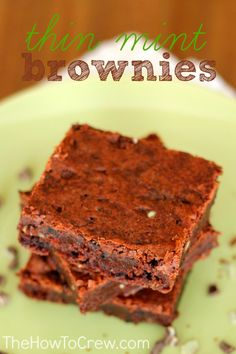 Thin Mint Brownies Recipe from TheHowToCrew.com.  The perfect way to use up your extra girl scout cookies! #thinmint #recipes #dessert #brownies