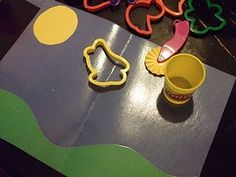 Play-Doh mat for making clouds with play doh or shaving cream!