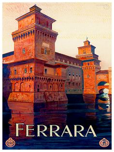 Art Italian Travel Poster Ferrara Italy Vintage by Blivingstons
