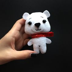 Christmas Bear - Felt Bear - Funny Ornament - Christmas Gift Child - Bear Toy - Bear Ornament - Holiday Bear - White Bear - Bear Figurine by BimbaUA on Etsy https://www.etsy.com/listing/572367789/christmas-bear-felt-bear-funny-ornament