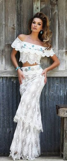 Sexy crochet embellished boho chic modern hippie top and skirt for a sweet gypsy look. FOLLOW > https://www.pinterest.com/happygolicky/the-best-boho-chic-fashion-bohemian-jewelry-gypsy-/ NOW for the BEST Bohemian fashion &  carefree lifestyle trends.