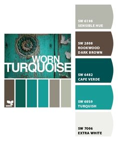 Worn Turquoise by Design Seeds, with color codes---color scheme for dining room- except through some red accents in there wedding fall ideas / april wedding / wedding color pallets / fall wedding schemes / fall wedding colors november Design Seeds, Colour Schemes, Color Combos, Turquoise Color Schemes, Turquoise Paint Colors, Turquoise Walls, Bedroom Turquoise, Turquoise Bathroom, Paint Schemes