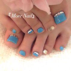 Blue-Rhinestone Toe Nail Art #nailbook