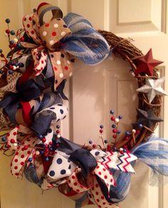Primitive patriotic grapevine wreath funky loop of july wreath ,veterans dsy wreath,labor day wreath,memorial day wreath,flag day Diy Wreath, Grapevine Wreath, Wreath Crafts, Wreath Ideas, Patriotic Wreath, 4th Of July Wreath, Americana Crafts, Country Crafts, Primitive Colors