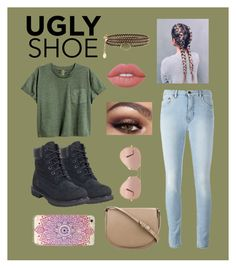 """""""Untitled #43"""" by gracief-9 on Polyvore featuring Timberland, CÉLINE, Lime Crime, Ray-Ban and Accessorize"""