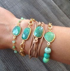 Leather wrap Bracelet with Chrysoprase Bezel Set by joydravecky