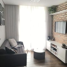 Having small living room can be one of all your problem about decoration home. To solve that, you will create the illusion of a larger space and painting your small living room with bright colors c… Condo Living, Apartment Living, Living Room Decor, Small Rooms, Small Apartments, Small Spaces, Narrow Living Room, Small Condo, Little Houses